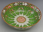 Chinese Export Porcelain Cabbage Leaf Center Bowl with Butterflies