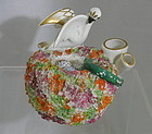 Staffordshire Two Quill Pen Holder Inkwell Bird Nest Snake 19th C