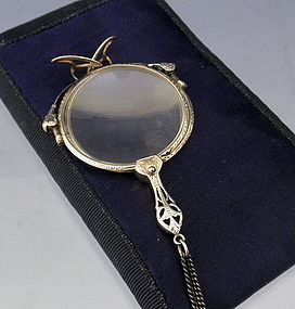 Engraved Silver Lorgnette with Nose Pads, Chain, and Case