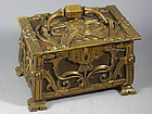 Antique French Art Nouveau Hinged Bronze and Leather Box with Feet