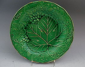 Antique Green Majolica Plate by Wardle, England 1880