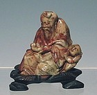 19th C Chicken Blood Shoushan Stone Carving of Old Man and Boy