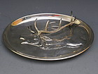 Rare Silver Cigar Ashtray Holder with Stag Deer Elk