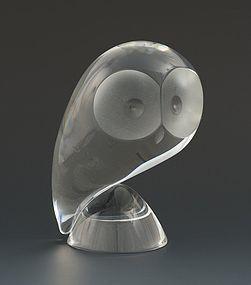 American Mid-Century Modern Stuben Art Glass Perched Crystal Owl