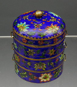 Antique Chinese Enamel Cloisonne Stacking Spice Box Blue