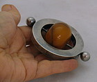 Rare Modern Scandinavian Sterling Silver and Amber Baby Teething Ring