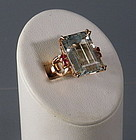 22 Ct Natural Aquamarine Ruby 14K Yellow Gold Cocktail Dinner Ring