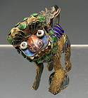 Antique Chinese Silver Gold Gilt Enamel Foo Dog with Ball