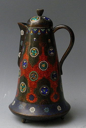 Tall Cloisonne Enamel and Embossed Foil Ginbari Winepot Teapot