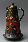 Tall Cloisonné Enamel and Embossed Foil Ginbari Winepot Teapot