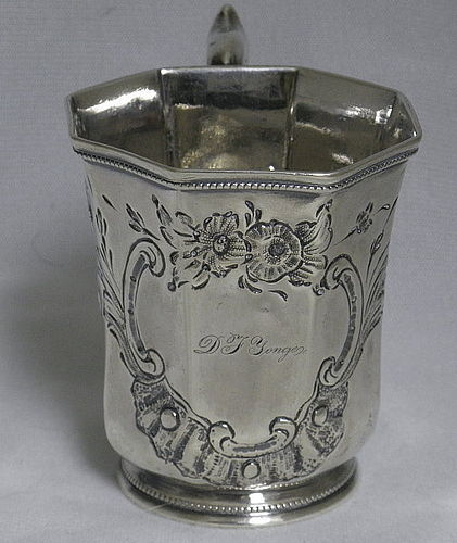 Rare American Southern Coin Silver Engraved Baby Cup, Hallmarked