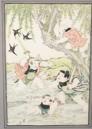 Japanese Children Playing Woodblock Print by Keisai Eisen, Late Edo