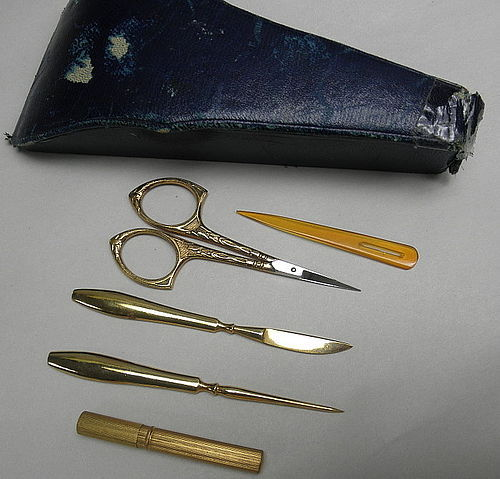 Vintage Sewing Kit with Original Blue Leather Case Gold Sissors