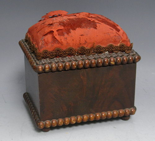 Victorian Footed Rosewood Sewing Box with Padded Pin Cushion Lid