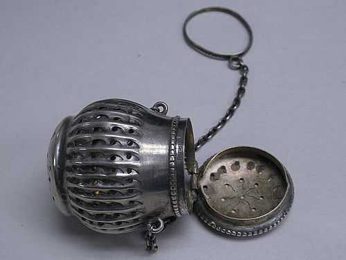 Antique Sterling Silver Gorham Tea Infuser Teaball, 19th C