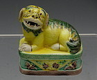 Old Chinese Famille Juane Sancai Porcelain Relief Dog Figurine