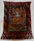 Large Antique Tibetan Thangka Green Tara and Deities Buddhist