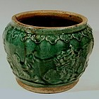 Phoenix, Dragon Large Green Shiwan Jardiniere, 19th C