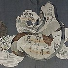 1930 Japanese Men's Naga Juban with Daruma