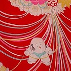 1930s Japanese Red Silk Juban with Fat Babies