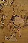Early 20th C Scroll, Liu Bei and Cranes Painted on Silk