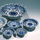Chinese Blue and White Stacking Dish Set, 19th C