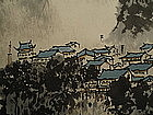 Chinese Mountain Village Painted on Paper Scroll
