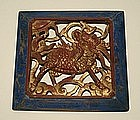 Chinese Carved Wood Panel with Red Kylin, Chi Lin