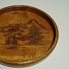 Japanese Carved Round Fruitwood Tray, Taisho
