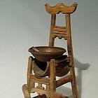 Rare Chinese Wood Opium Tar Den Lamp, Circa 1900