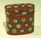 Chinese Cloisonne, Paktong, and Copper Tobacco Box