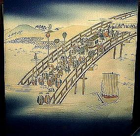 Blue Silk Nagoya Obi with Art Deco Parade Scene