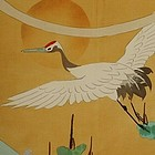 Japanese Silk Fukusa with Flying Crane Painting
