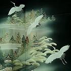 Japanese Silk Kuro Tomesode Kimono with Cranes, 1920s
