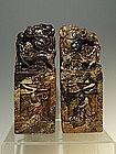 Large Chinese Kylin Hard Stone Seals 8 Immortals, Qing