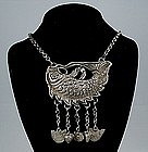 Chinese Silver Ethnic Miao Minority Fish Necklace