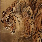 Exceptional Chinese Tiger Painting on Silk, Late Qing