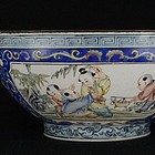 Chinese Canton Enamel Bowl with Boys at Play, 19th C