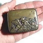 Meiji Era, Small Bronze Box Samurai Warrior on Horse
