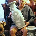 Pair Chinese Celadon Porcelain Floor Vases, 19th C