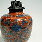 Large Ming Iron Red and Blue Jar, Marked