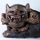 Unusual Architectural Wooden Foo Dog, 19th C