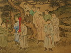 Chinese Landscape Painting on Silk with Figures, 19th C