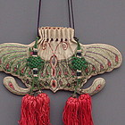 Chinese Silk Butterfly Luna Moth Pouch,19th C