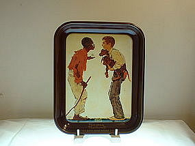 Norman Rockwell Two Boys with Hound Dogs Tray 1976
