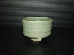 Rare Yuan longquan celadon drum shape small censer