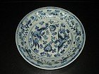 Rare early Ming interregnum blue and white dish