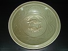 Song Yuan longquan celadon large two fish plate