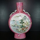 Qing 19th century Famille rose moon flask