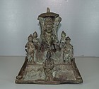 15th century east java bronze of seated Buddha